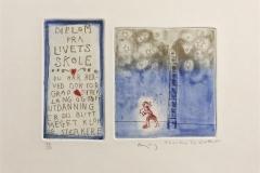 Diplom fra livets skole Etsning (12x17 cm) kr 1400 ur