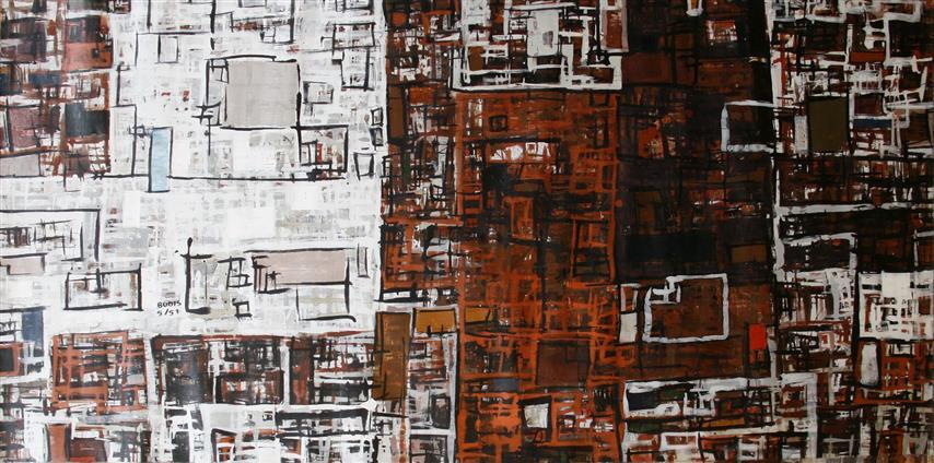 By 5(51) Akrylmaleri 72x143cm 9000,-kr u.r.