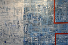 Stor blaa komposisjon Akrylmaleri 75x150cm 9000,-kr u.r.