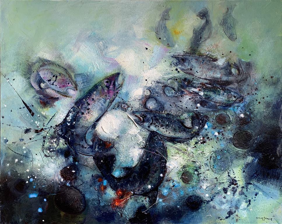 Les truites – Ørretene Oljemaleri (65x81 cm) kr 40000 ur