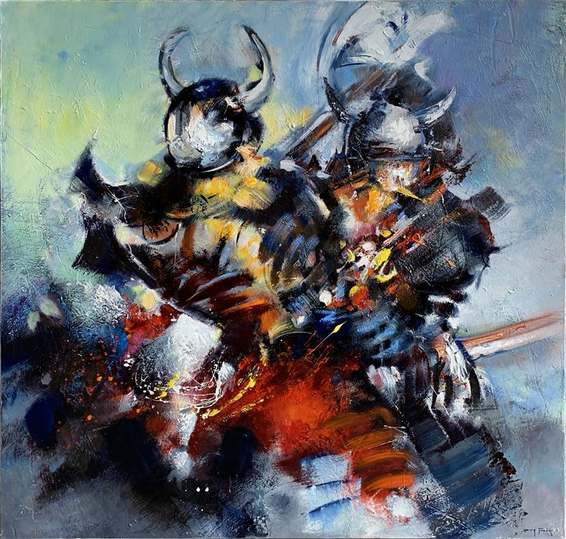 Vikings 2 – Vikinger 2 Oljemaleri (100x100 cm) kr 60000 ur