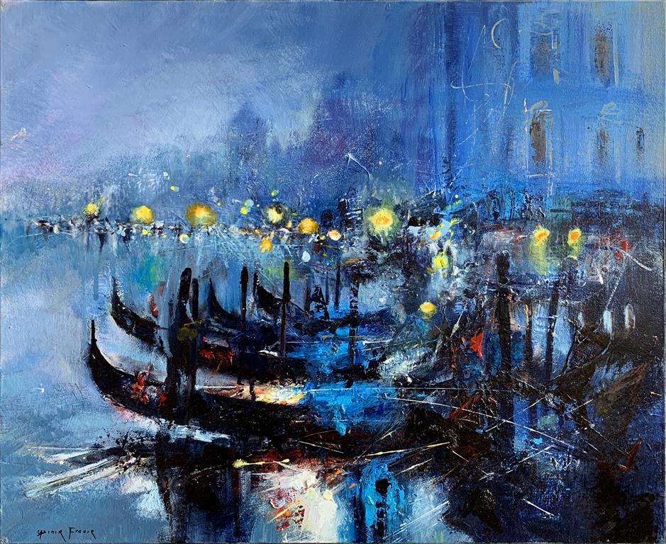 Venise bleutée –  Venezia i blått Oljemaleri (50x61 cm) kr 23000 ur