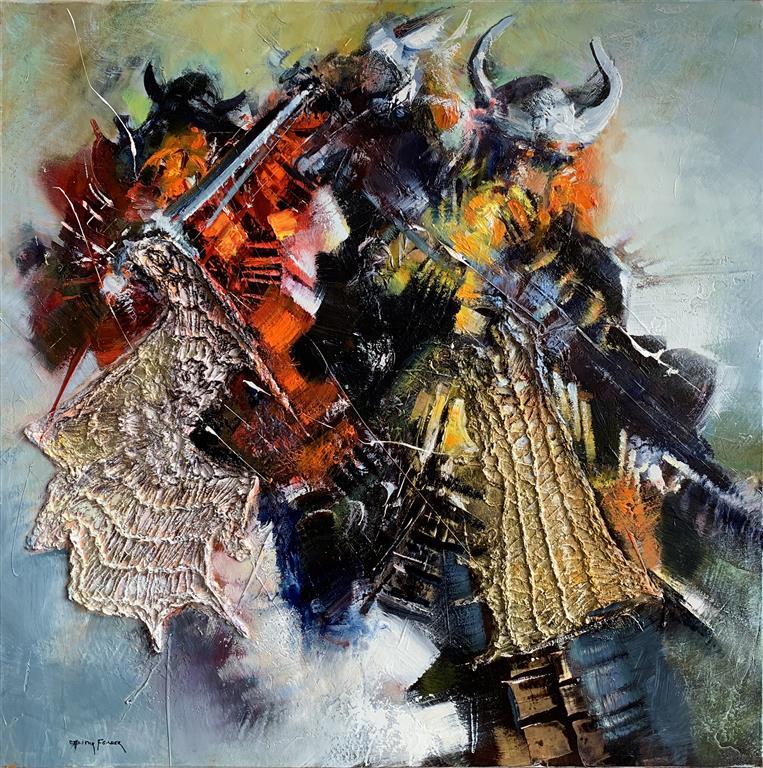 Vikings 1 – Vikinger  1 Oljemaleri (80x80 cm) kr 52000 ur