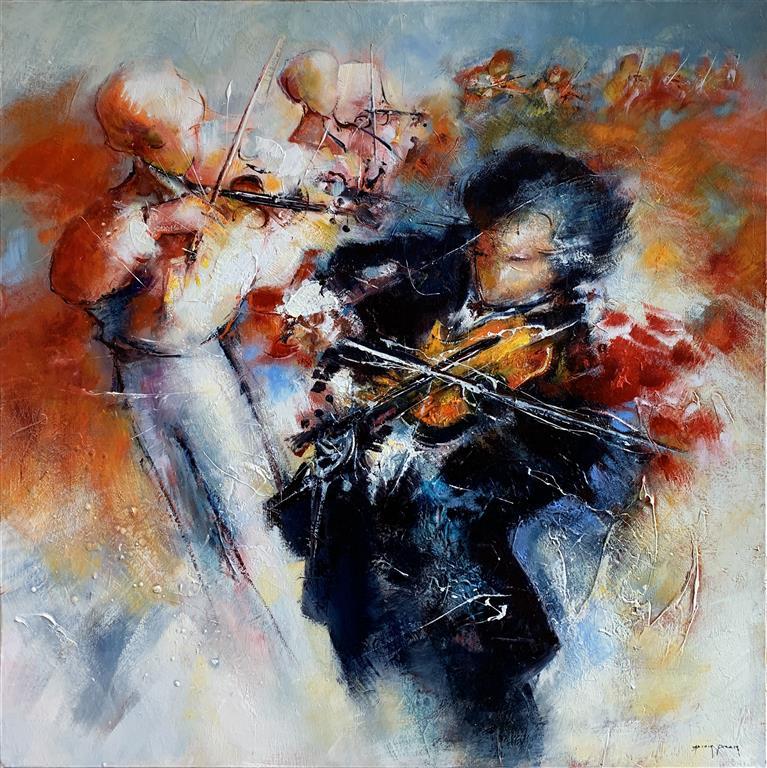 Trio Musikal – Musikktrio Oljemaleri (100x100 cm) kr 60000 ur