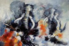 Les éléphants – Elefanter Oljemaleri (97x130 cm) kr 70000 ur