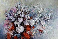 Univers Musical (concrétisme) – Musikalsk atmosfære (konkretisme) Oljemaleri (97x130 cm) kr 70000 ur