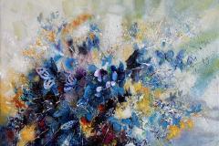 Les papillons (concrétisme) – Sommerfugler (konkretisme) Oljemaleri (97x130 cm) kr 80000 ur