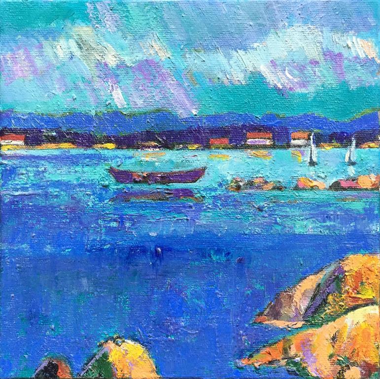 Ved fjorden II Akrylmaleri (25x25 cm) kr 2000 ur