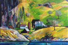 Norsk landskap Akrylmaleri (56x76 cm) kr 6000 ur