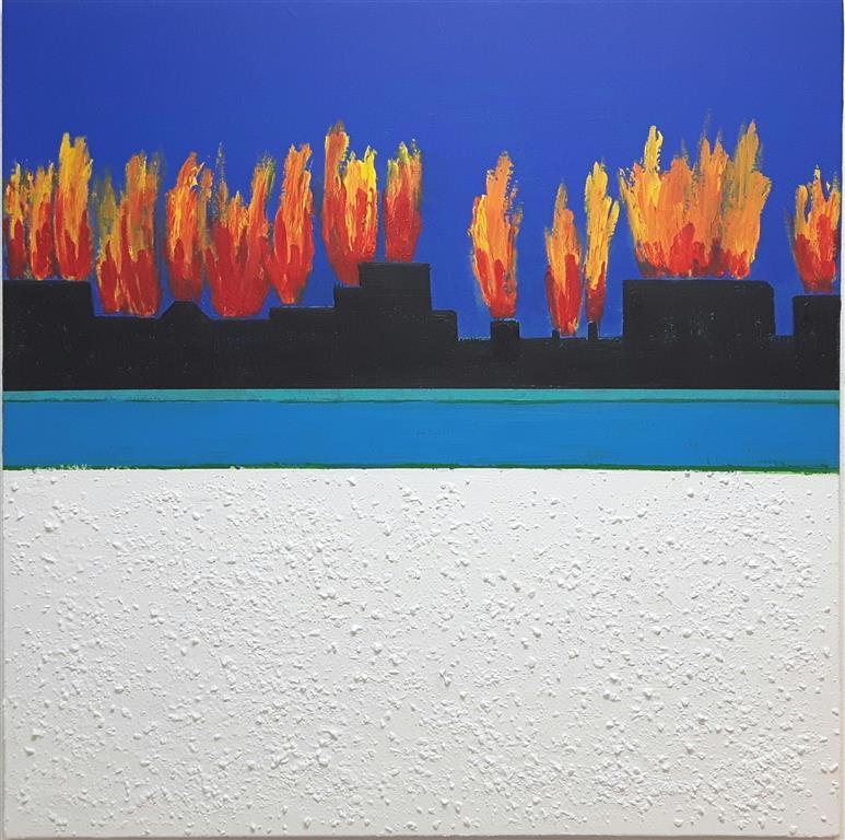 City of Pain Akryl-mixed media på lerret (90x90 cm)