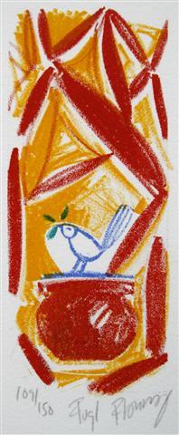 Fugl( lite) Litografi 12x5cm 300,-kr u.r.