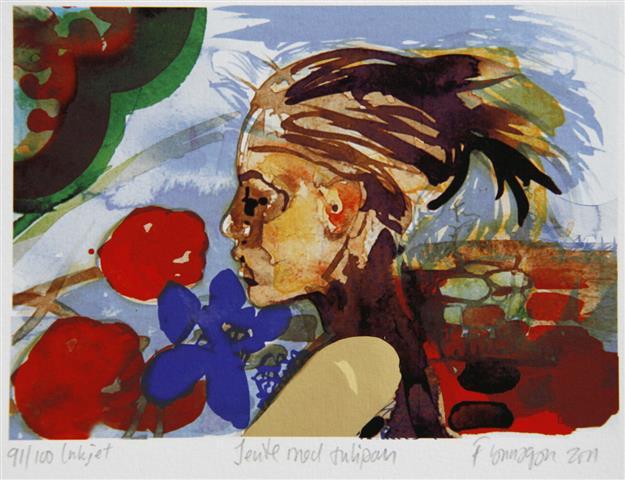 Jente med tulipan Digitale trykk 13x18cm 800,-kr u.r.