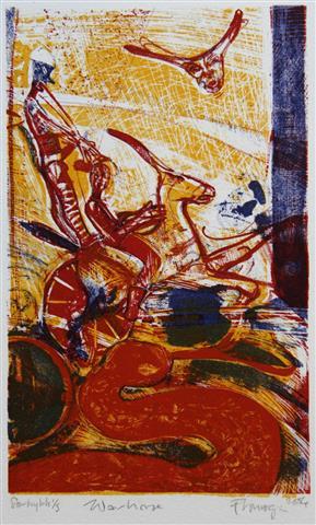 Warhorse Litografi 21x13 1500,-kr u.r.