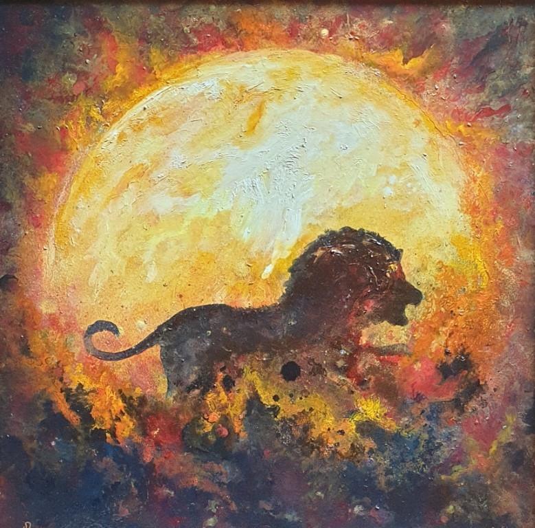 Løven (Jeg vil) Oljemaleri (60x60 cm) kr 36000 mr