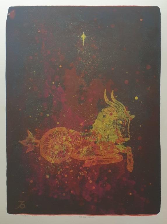 Steinbukken (Jeg bruker) Litografi (65x48 cm) kr 3800 ur
