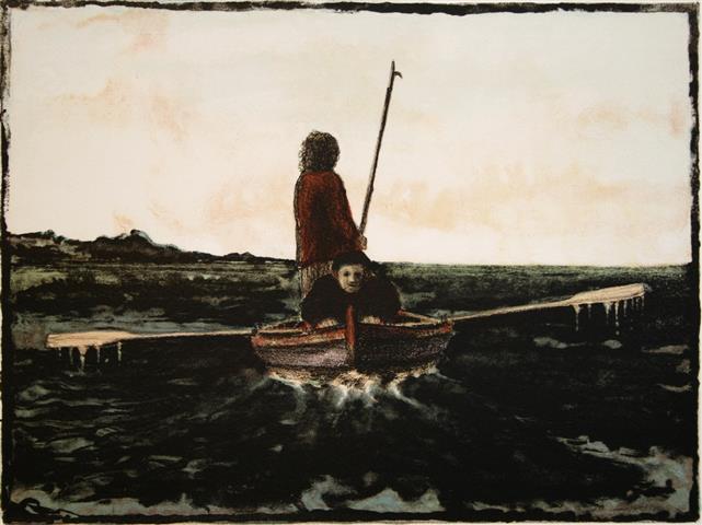 Ro fiske Litografi 25x33 cm 850,-kr u.r.