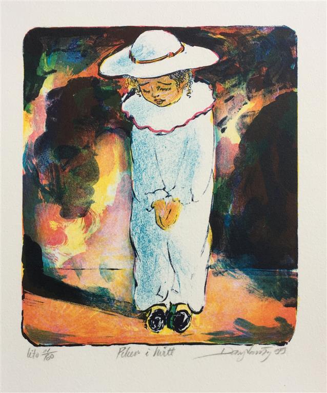 Piken i hvitt Litografi (19x17 cm) kr 900 ur