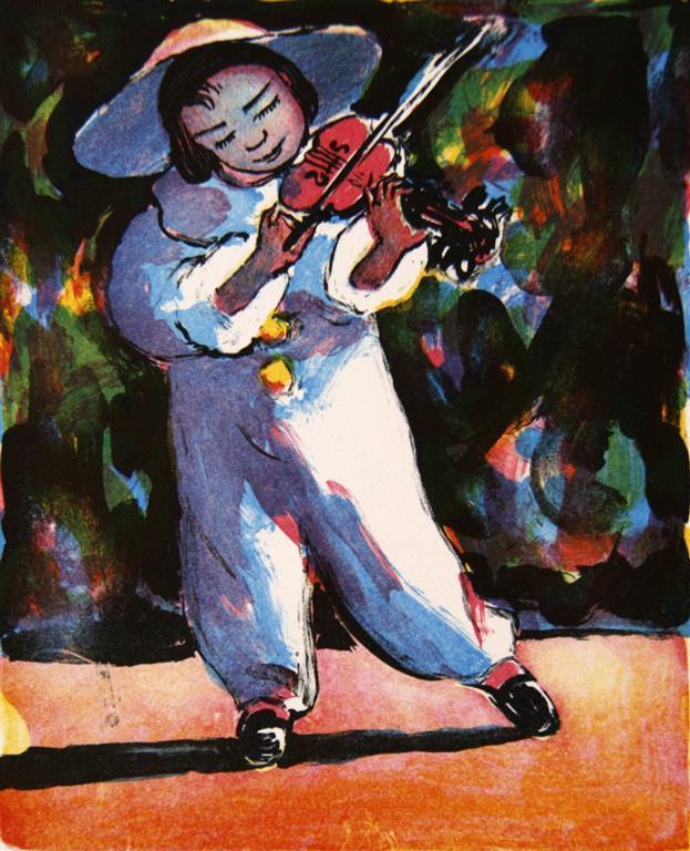 Violinisten Litografi (22,5x18,5 cm) kr 1200 ur