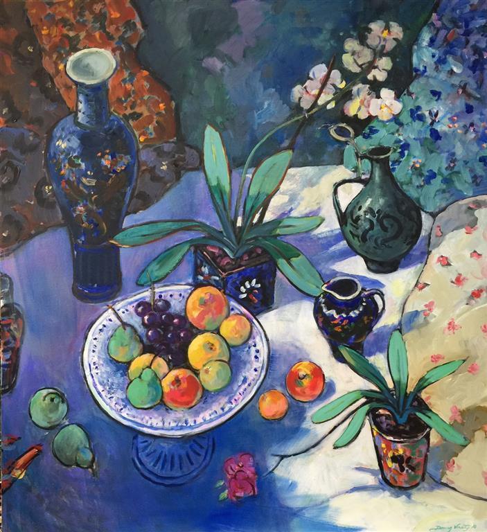 Stilleben med frukt Maleri (110x100 cm) kr 28000 ur