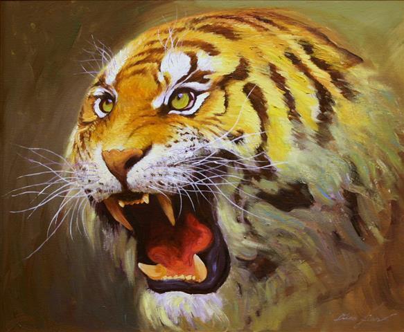 Sulten tiger Oljemaleri (50x60 cm) kr 5000 mr