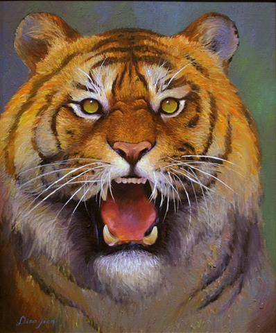 Tiger-blikk Oljemaleri (46x38 cm) kr 4000 mr