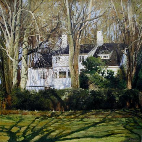 Villa i Stavanger Oljemaleri (89x89 cm) kr 15000 ur