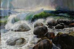 Bølger Oljemaleri (96x143 cm) kr 25000 ur