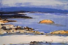 Vinterlys. Oslofjorden Litografi 20,5x25,5cm 900,-kr u.r.