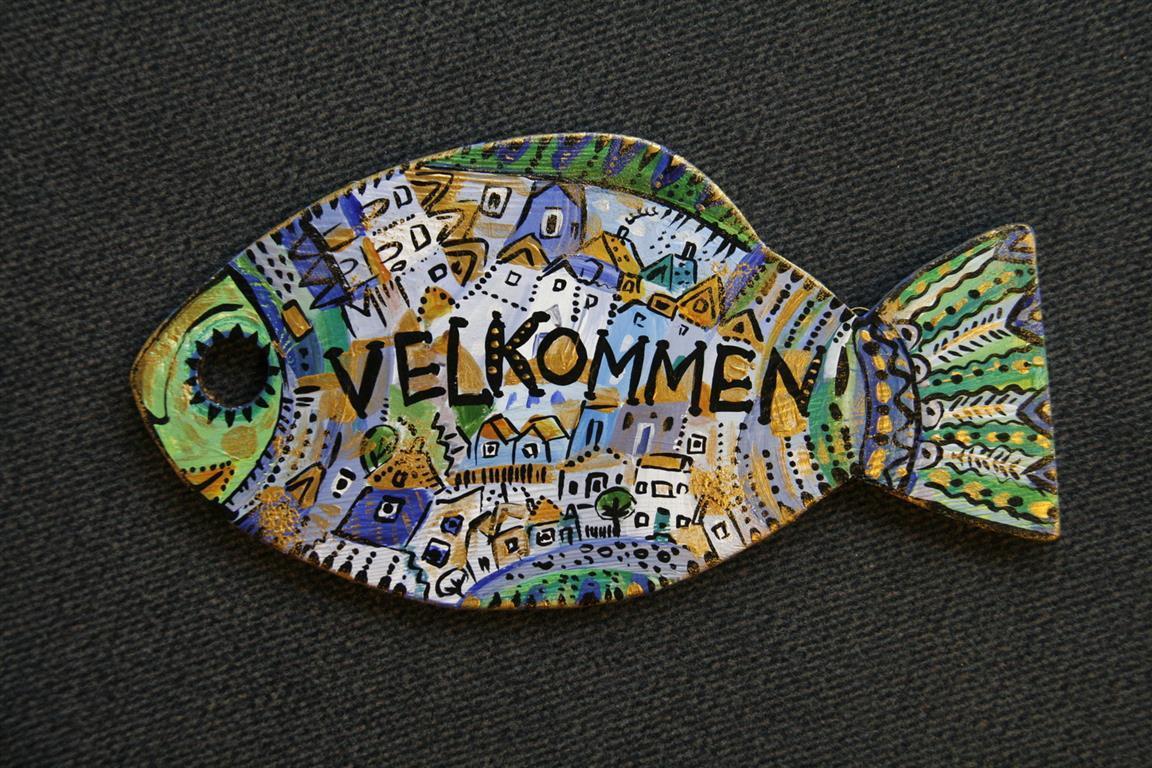 Velkommen-skilt (17x31,5 cm)