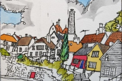 Gamle Stavanger Etsning 10x11 cm 450,-kr u.r.