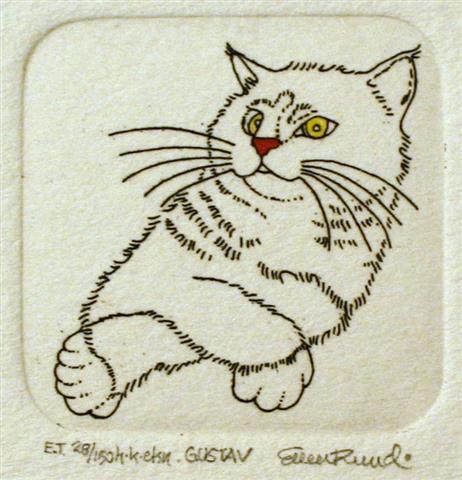 Gustav Etsning 3,8x3,8 cm 350 ur