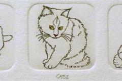 Cats I Etsning 3,8x13 cm 600 ur