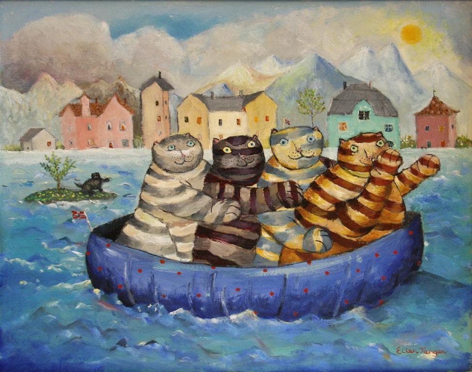 Båt tur Oljemaleri (38x48 cm) kr 3500 ur