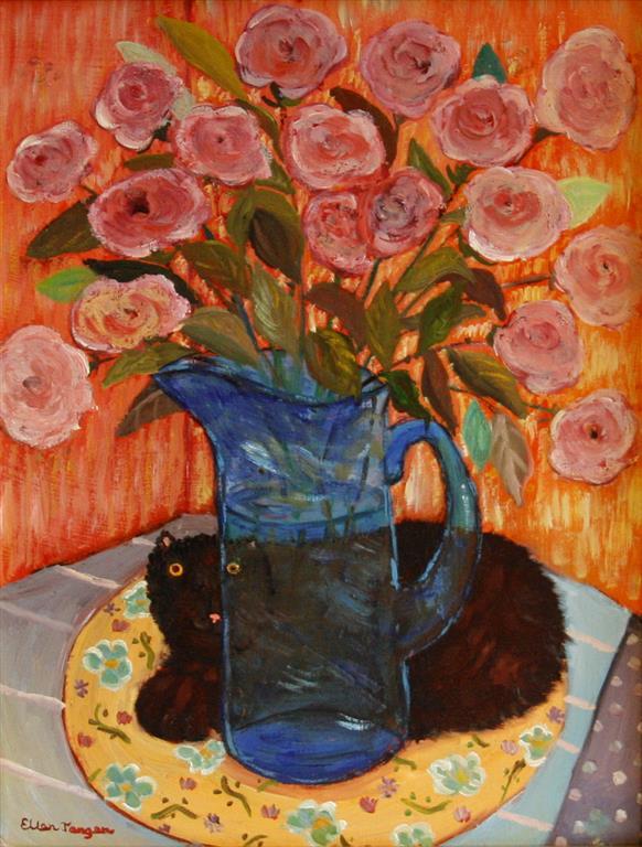 Tusk og roser Oljemaleri (34,5x26 cm) kr 2500 ur