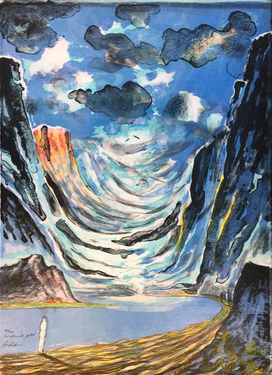 Det aftenrøde fjellet Litografi (61x45 cm) kr 5200 ur