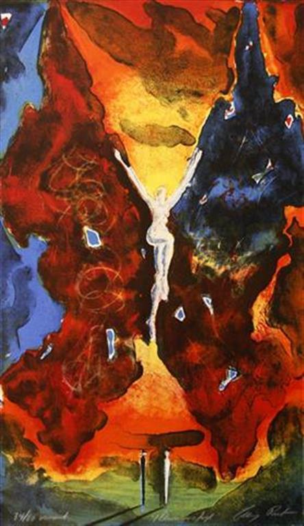 Ildsommerfugl Litografi 44x26 cm 2000 ur