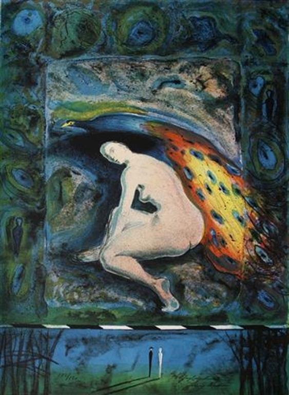 Paafuglmadonna Litografi 61,5x45,5 cm 3100 ur