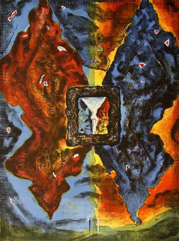Roed og blaa sommerfugl Litografi 61x45 cm 4200 ur