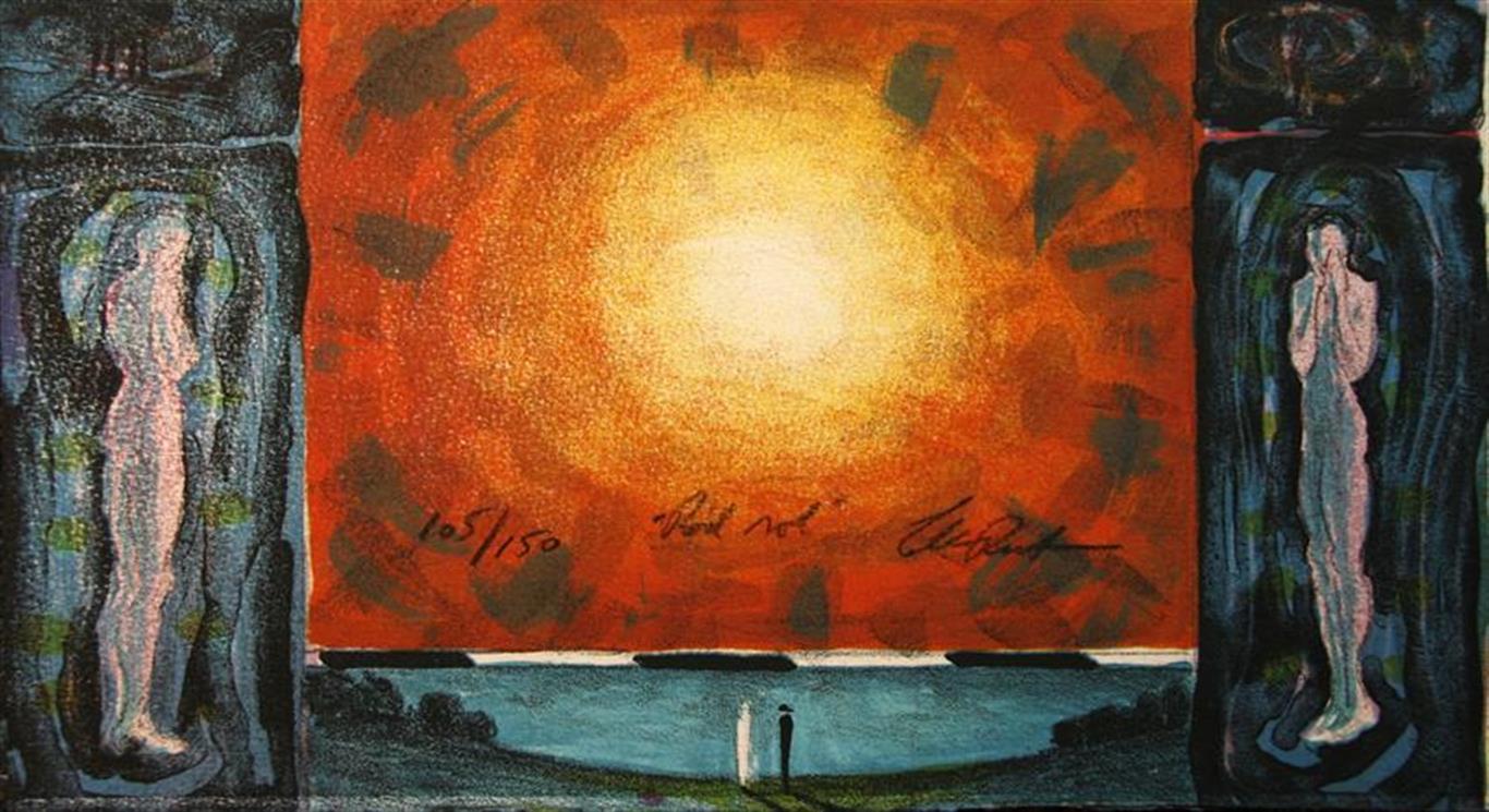 Roed sol Litografi 18x33 cm 1500 ur