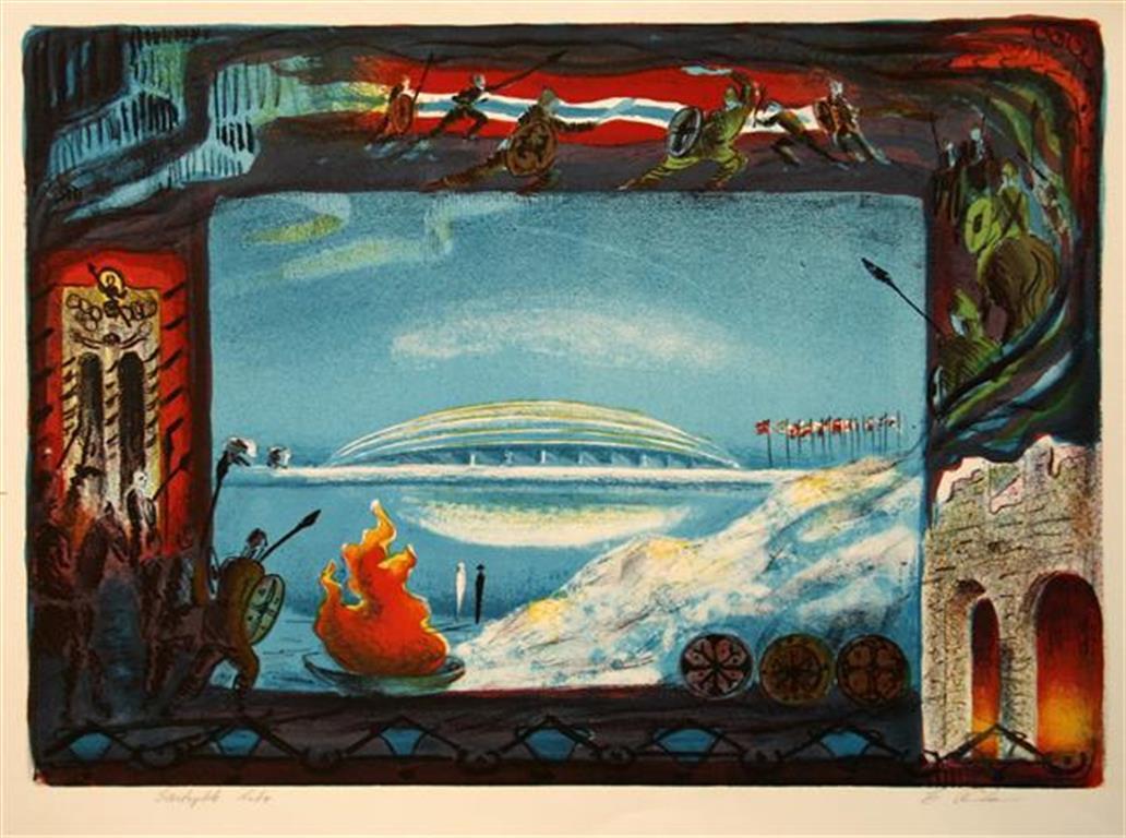 Vikinghallen Litografi 33x46 cm 1200 ur