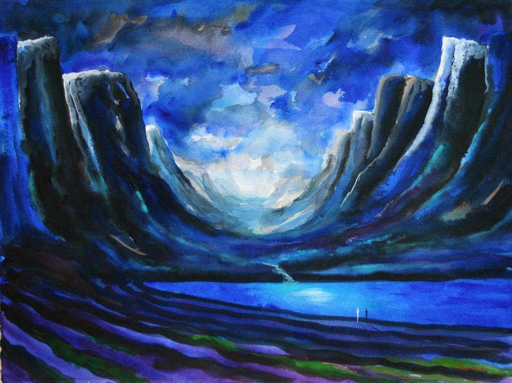 Akvarell Kobolt Fjell