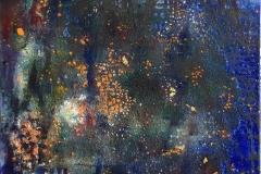 Fragment af cosmos Oljemaleri  med bladgull (80x80 cm) kr 16000 ur