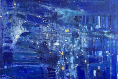 I det skiftende bla lys (150x120 cm) Oljemaleri kr 25000 ur