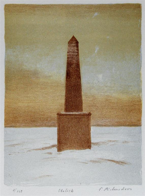 Obelisk Litografi 21x16 cm 1000 ur