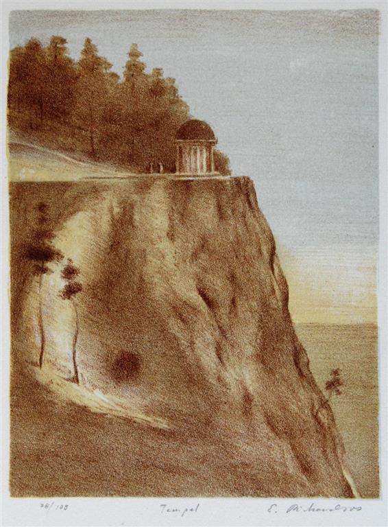 Tempel Litografi 21x16 cm 1000 ur