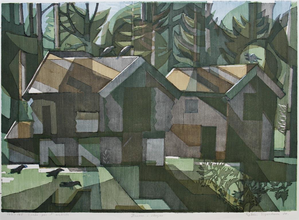 Husene i skogen Tresnitt 43x59,5 cm 2100 ur