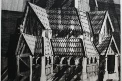 Kirken Etsning 47x63 cm 2100 ur