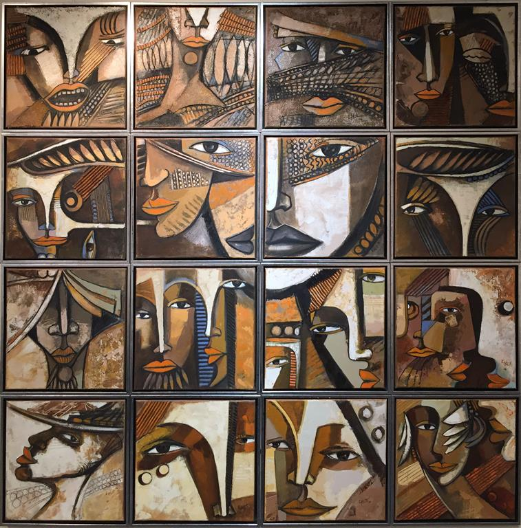 Installasjon med 16 verk i eitt verk Maleri (30x30 x16) kr 35000