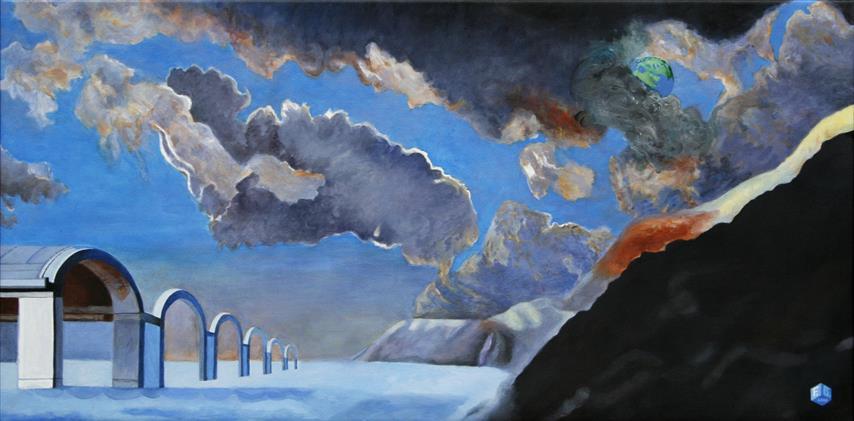Jorden sett fra maanen Akrylmaleri 60x120 cm 20000,-kr m.r.