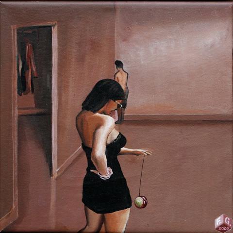 Yo-yo Akrylmaleri 25x25 cm 5000,-kr m.r.
